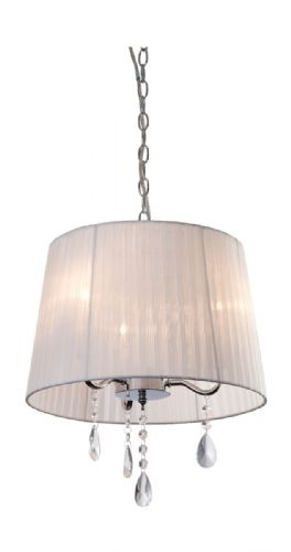 Firstlight 8308WH Chrome with White Shade and Crystal Organza 3 Pendant